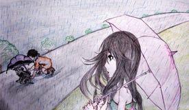 Handgemachte Skizze eines Mädchens, das ein Kind aufpasst, einen Welpen im Regen zu schützen Stockbild
