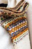 Handgemachte Socken der Weinlese Woll Stockbild