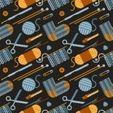 Handgemachte strickende Illustration Nahtloses Muster Stockfotografie