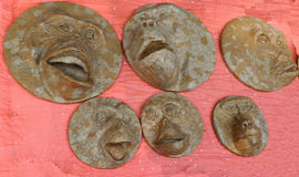Handgemachte verschiedene Gesichter/Tier Stockfoto