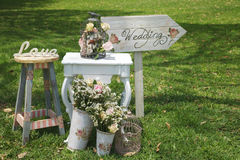 Handgemachte willkommene Hochzeits-Dekoration Lizenzfreie Stockfotos
