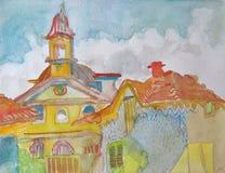 Handgemachte Zeichnung eines Stadtzentrums mit Kirche und Altbauten Stockfotos