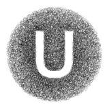 Handgemachter Buchstabe U gezeichnet mit grafischem Stift auf weißem Hintergrund Lizenzfreie Stockfotos
