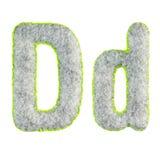 Handgemachter Gray Letter D lokalisierte auf Weiß stockbild