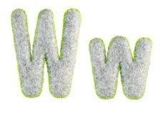 Handgemachter Gray Letter W lokalisierte auf Weiß stockbilder