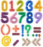 Handgemachter Mehrfarbenzahlsatz mit Interpunktionszeichen vom Filz Lizenzfreie Stockfotografie