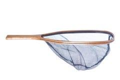 Handgemachtes hölzernes flyfishing Netz getrennt auf Weiß Stockbilder