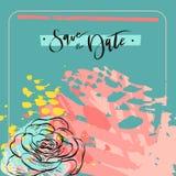 Handgemachtes kreatives Universalblumenkunstplakat in der tropischen Art Hand gezeichnete Beschaffenheiten Hochzeit, Jahrestag, G lizenzfreie abbildung
