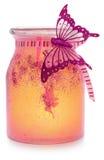 Handgemalt und verziert, Rosa, orange glühender Kerzenhalter Lizenzfreies Stockbild