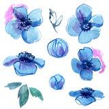 Handgemalte blaue Blumen des netten Aquarells einladung Abstraktionsabbildung für Hochzeit Kaninchen mit einem Geschenk Stockbild
