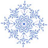 Handgemalte dekorative Aquarell-Schneeflocke lizenzfreie abbildung
