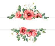Handgemalte Fahne des Aquarells mit Wildflowers und Blättern Vervollkommnen Sie für Einladungs-, Hochzeits- oder Grußkarten vektor abbildung
