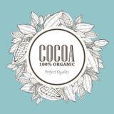 Handgemalte Kakaokranz-Botanikillustration Dekoratives Gekritzel des gesunden Nährlebensmittels Stockbilder