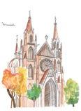 Handgemalte Kirche in München Stockfoto