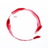 Handgemalte rote Kreiswasserfarbe Stockfotos
