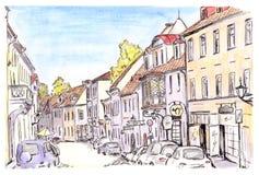 Handgemalte Skizze der Tallinn-Stadtstraße, Estland Stock Abbildung