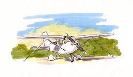 Handgemalte Skizze des kleinen Propellerflugzeugs Stock Abbildung