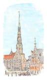 Handgemalte Skizze von Riga-Marktplatz Aquarellansicht Lizenzfreie Abbildung