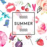 Handgemalte Sommerkarte Lizenzfreies Stockfoto