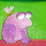 Handgemalte sonderbare purpurrote Frosch-und Libellen-Illustration Lizenzfreie Stockbilder