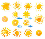 Handgemalte Sonne und Wolken des Aquarells