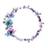 Handgemalter Blumenrahmen des netten Aquarells Stockfoto