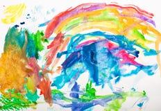 Handgemalter Hintergrund des abstrakten Aquarells Stockfotos