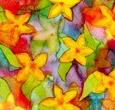 Handgemalter Hintergrund des abstrakten Aquarells Kleine Blumensträuße mit Bögen Stockfoto