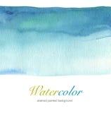 Handgemalter Hintergrund des abstrakten blauen Aquarells Lizenzfreies Stockfoto
