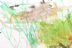 Handgemalter Hintergrund des abstrakten grünen Aquarells Lizenzfreie Stockbilder