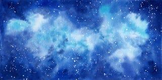 Handgemalter Hintergrund des Raumaquarells Abstrakte Galaxiemalerei vektor abbildung