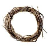 Handgemalter Kranz des Aquarells des Zweigs Hölzerner Kranz für Design und Hintergrund Stockbilder