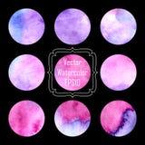 Handgemalter Kreis des Rosas, der Flieder und des purpurroten Aquarells formen Gestaltungselemente Lizenzfreie Stockbilder