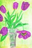 Handgemaltes Bild, Tulpen im Vase Stockfoto