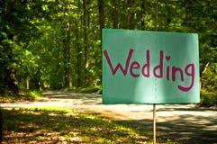 Handgemaltes Hochzeits-Zeichen Stockfoto