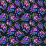 Handgemaltes nahtloses Muster Aquarellpaisleys Auszug verlässt Hintergrund Moderne Naturbeschaffenheit für Oberflächendesign Stockbild