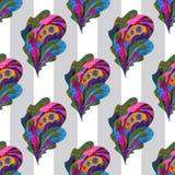 Handgemaltes nahtloses Muster Aquarellpaisleys Auszug verlässt Hintergrund Moderne Naturbeschaffenheit für Oberflächendesign Lizenzfreie Stockbilder