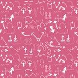 Handgemaltes nahtloses Muster des Vektors mit Pfeilen Stockbild