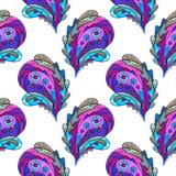 Handgemaltes nahtloses Muster Paisleys Abstrakter stilisierter Blatthintergrund des Aquarells Moderne Beschaffenheit für Oberfläc Lizenzfreies Stockfoto