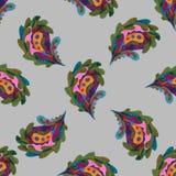 Handgemaltes nahtloses Muster Paisleys Abstrakter stilisierter Blatthintergrund des Aquarells Moderne Beschaffenheit für Oberfläc Lizenzfreies Stockbild
