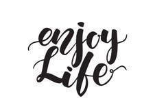 Handgeschriebene Bürstenbeschriftung von Enjoy Leben lokalisiert auf weißem Hintergrund vektor abbildung