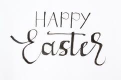 Handgeschriebene glückliche Ostern-Anmerkung lizenzfreie stockfotos
