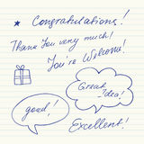 Handgeschriebene kurze Phrasen Gutes Glück, Auf Wiedersehen, Willkommen, Tschüss, hallo, sehen Sie Lizenzfreie Stockfotografie