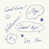 Handgeschriebene kurze Phrasen Gutes Glück, Auf Wiedersehen, Willkommen, Tschüss, hallo, sehen Sie Stockbild