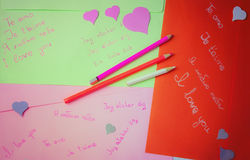 Handgeschriebene Liebeserklärungen Stockbild