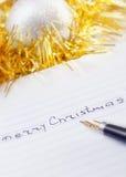 Handgeschriebene Meldung der frohen Weihnachten Lizenzfreie Stockfotos