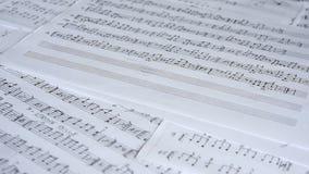 Handgeschriebene musikalische Anmerkungen stock footage