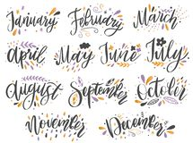 Handgeschriebene Namen von Monaten: Dezember, Januar, Februar, März, April, Mai, Juni, Juli, August, September, Oktober, November lizenzfreie abbildung
