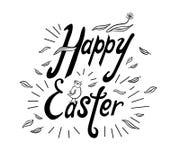 Handgeschriebene Phrase fröhliche Ostern mit Strahlen, Huhn, Blume und Blättern lizenzfreie abbildung