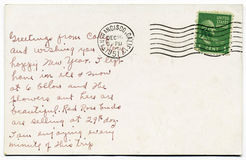 Handgeschriebene Postkarte von San Francisco lizenzfreie stockbilder